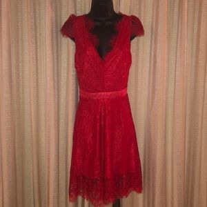 Dresses & Skirts - Red Lace Dress with nude mesh low back NWOT